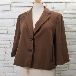 🍋 Ann Taylor Boxy Brown Cropped Jacket